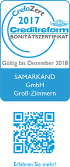 CrefoZert Creditreform-Bonitätszertifikat gültig bis Dezember 2018, ausgestellt für Samarkand GmbH Groß-Zimmern